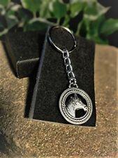 Handmade Silver Horse Head Circle Keyring / Handbag Charm. Gift Boxed.