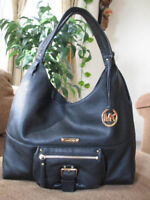 NWT$348 Michael Kors Large Leather Hobo Shoulder Tote Bag Purse Black Handbag