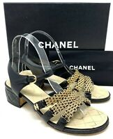 Authentic CHANEL Gold CC & Chain Sandals Black Leather Size 37.5 US 7 Rank AB