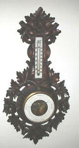 Antikes Barometer Thermometer durchbrochen geschnitzt  Holz  groß Lüttich um1880
