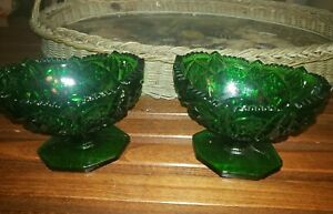 Pair Kemple Wheaton Vintage Green Glass Sawtooth Edge Candle Holders-Stamped KW