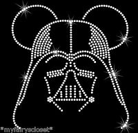 "8"" Star Wars clear Darth Vader Mickey Mouse iron on rhinestone transfer applique"
