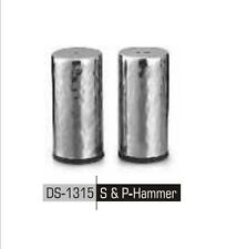 Salt & Pepper Shaker Set of 2 Stainless Steel for Table Kitchen Hammer Design