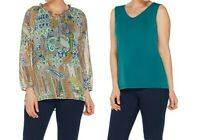 A308239 Susan Graver Print Sheer Chiffon Peasant Top & Knit Tank Set TEAL XS-675