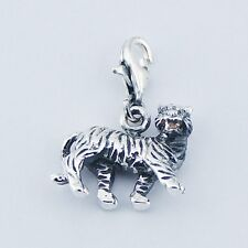 Intriguing Ornate Sterling Sliver Chinese Zodiac Tiger Clip on Charm Pendant