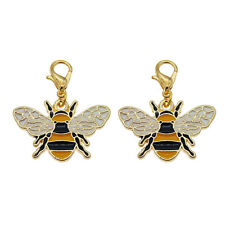 12pcs Black&Gold Alloy Enamel Bee Pendant Dangle Charms DIY Jewelry Accessories