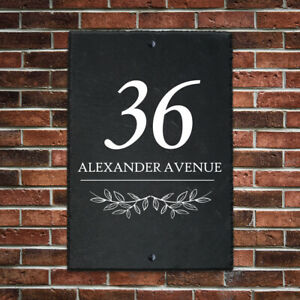 Personalised House Number Plaque UV Printed Slate Door Number Gate Wall Sign