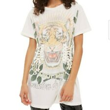 TOPSHOP Cream Tiger Motif Lace Up Corset T-Shirt Dress Size 8 Festival Summer