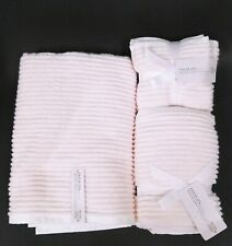 KASSATEX SPA PINK & WHITE STRIPES 100% COTTON BATH,2 HAND TOWEL,4 WASH CLOTHES