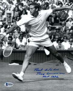 ROY EMERSON SIGNED AUTOGRAPHED 8x10 PHOTO + HOF 1982 TENNIS LEGEND BECKETT BAS