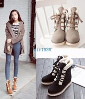 Ladies Sweet Casual Lace Up Round Toe Fur Lining Snow Ankle Boots Shoes US Size