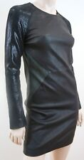 AMERICAN RETRO Black 100% Stretch Leather Fitted Long Sleeve Dress UK10 NWT