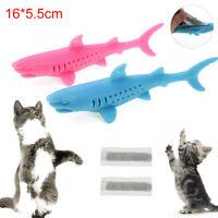 KQ_ Pet Kitten Silicone Shark Shape Toothbrush Catnip Molar Bite Chew Play Toy N