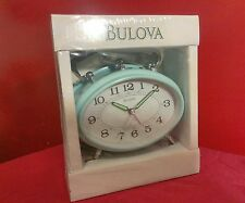 "Bulova Clock Baby Blue & Silver Metal 7"" Footed Retro and  New"