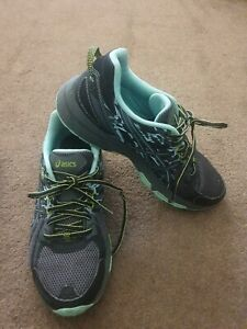 ASICS GEL LADY VENTURE 6 TRAIL RUNNING SHOES TRAINERS Grey & Turquoise Sz 7 40.5