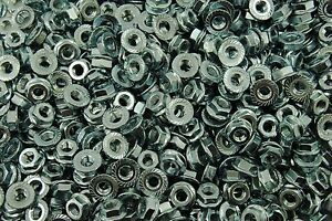 (800) Serrated Flange 1/4-28 Hex Lock Nuts - Zinc Plated