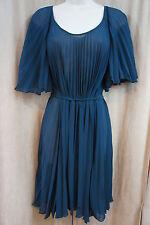 Studio M Vestido Sz XS Verde Azulado TRANSPARENTE ANUDAR cintura plisado