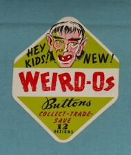 vintage WEIRD-O's BUTTONS gumball vending machine small advertising sign