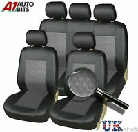 Grey Black Front/Rear Car Seat Covers Protectors Universal Leatherette Dog Pet
