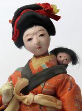"Antique Japanese Gofun Isho Ningyo Doll Mother and Child Silk Kimono 8 1/2"" Tall"