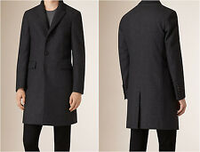 Burberry $2595 Down-filled Virgin Wool Cashmere Houndstooth Topcoat GRAY 52 Coat