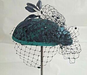 Navy Wedding Hat handmade by Milliner Judith Kennerdale