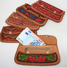 58da6297902 Cuero Monedero Cartera Monedero Monedero Bordado Marrón Goa India Hippie K3
