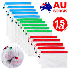 NEW 15Pcs Reusable Fruit & Vegetable Produce Bags Grocery Eco Friendly Mesh Bag