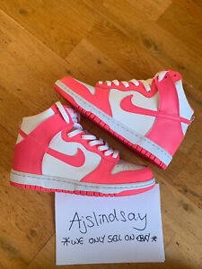 NIKE DUNK HIGH PINK WHITE GS UK6 US6.5 100% AUTHENTIC