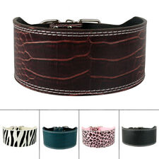 3'' Wide Croc Leather Medium Large Dog Collar Bulldog Rottweiler Labrador M-XL
