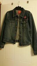 Ladies Guess Denim Jean Jacket Harley-Davidson Patches Size L