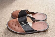 Men's VIP Sheepskin Leather House Scuff Slide Slippers Lightweight Brown Comfy