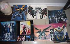 "7 Mobile Suit Gundam Wing Poster Lot Anime Mecha RARE 16.5""x23.5"""