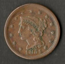 USA Large Size Copper One Cent 1851 VF-EF