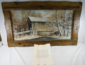 "Hielene Furlong ""Snowy Bridge"" Painting 1980 Rustic Wooden Frame Indiana Scenery"