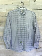 Lacoste France Blue Plaid Button Down Collared Long Sleeve Dress Shirt Men's 45