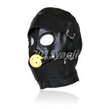 PU Leather GIMP Full Head Mask Hood Open Eyes Blindfold Mouth Ball Gag Restraint