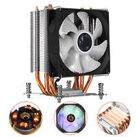 4 Copper 90mm RGB Heatsink Cooling Fan CPU Cooler 22dBA For Intel LGA 2011 New