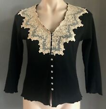 Pre-owned Black & Beige Lace Trim LISA HO 3/4 Sleeve Cardigan Size M/10-12