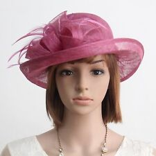 New Woman Church Derby Cocktail Party Sinamay Ascot Cloche Dress hat 068 PURPLE
