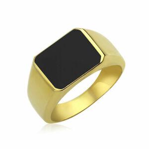 Ring echt Gold Herren Vintage Siegelring Emaille 375 585 750 Massiv Gelbgold