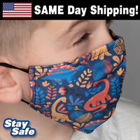 CHILD size DINOSAURS Face Mask – INCLUDES 2 FILTERS –30+ Custom Kids Designs
