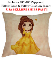 "18x18 18"" DISNEY PRINCESS BELLE BEAUTY AND BEAST Zippered Throw Pillow Cushion"