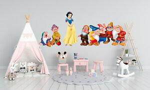 Snow White & Dwarfs Wall Decal Decor Sticker Vinyl Watercolour Nursery DecorKA50