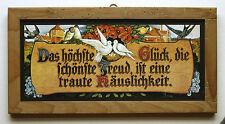 """Haussegen """"Das höchste Glück die schönste Freud"""" Hausschutz Tauben Blumen Holz 5"""