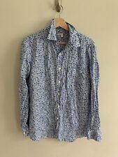 Liberty London Uniqlo Linen Blue Floral Long Sleeve Button Down Shirt Size S