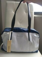 Diesel, NWT, satchel bag, leather, white blue