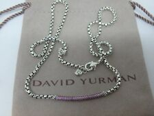 David Yurman SS Metro Pave Pink Sapphire Bar adjustable Necklace