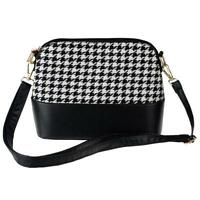 Women Houndstooth Shoulder Bags Tote Purse Lady Messenger Satchel Crossbody Bag