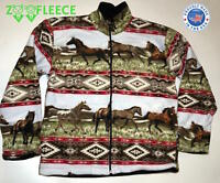 ZooFleece Red Horses Native American Sweater Riding Winter Jacket Coat Pet S-3XL
